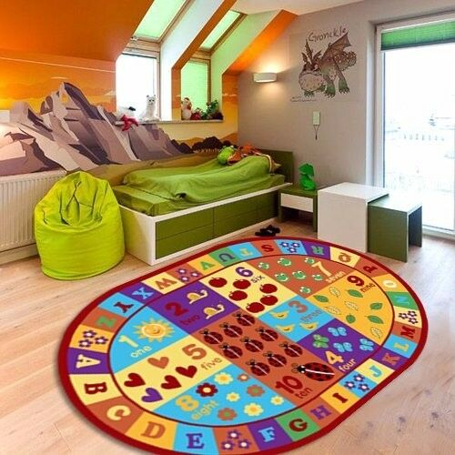 Furnish My Place Kids Abc Area Rug Educational Alphabet Letter Numbers Multico Ebay