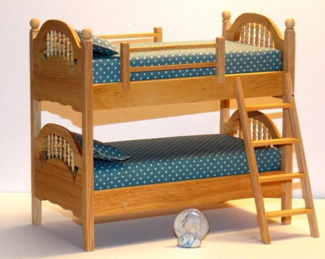 Dollhouse Miniature Bunk Beds Oak Finish 112 One Inch Scale Y57 Dollys Gallery