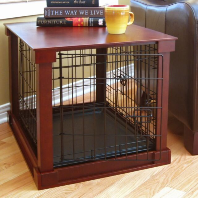 High Quality Indoor Dog Crate Wood Pet Kennel Wooden Side End Table Wire Cage Cover  Cherry