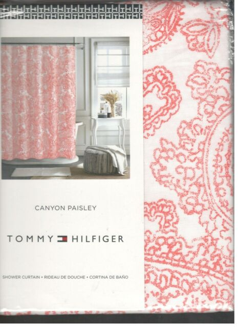 Tommy Hilfiger Canyon Paisley White Coral Pink Fabric Shower Curtain ...