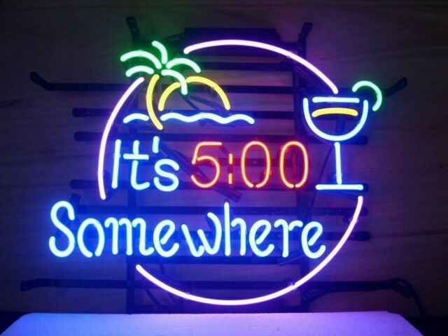 Its 5 oclock somewhere real glass neon light sign beer bar pub ebay new its 5 oclock somewhere real glass neon light sign beer bar aloadofball Image collections