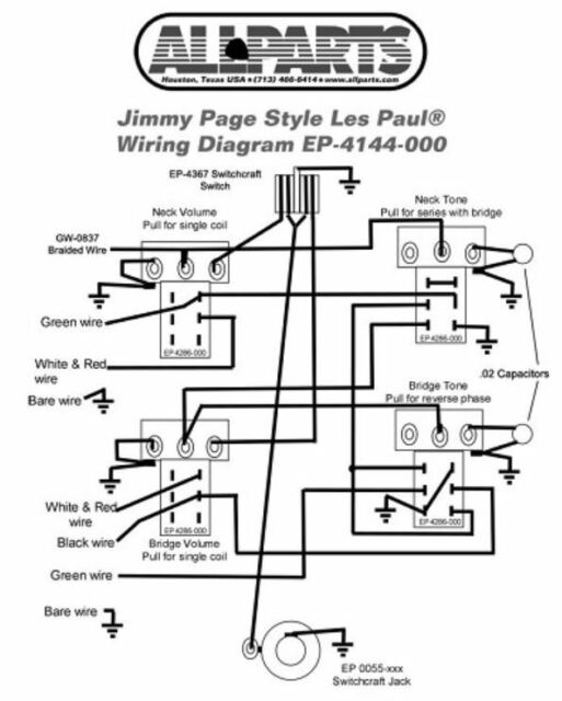 wiring kit for gibson jimmy page les paul complete w. Black Bedroom Furniture Sets. Home Design Ideas