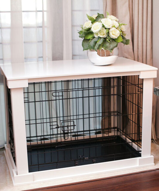 Indoor Dog Crate Wood Pet Kennel Wooden Side End Table Wire Cage ...