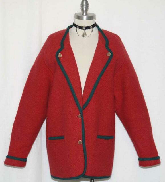 Geiger Thick Red Boiled Wool Sweater Jacket Car Coat Women