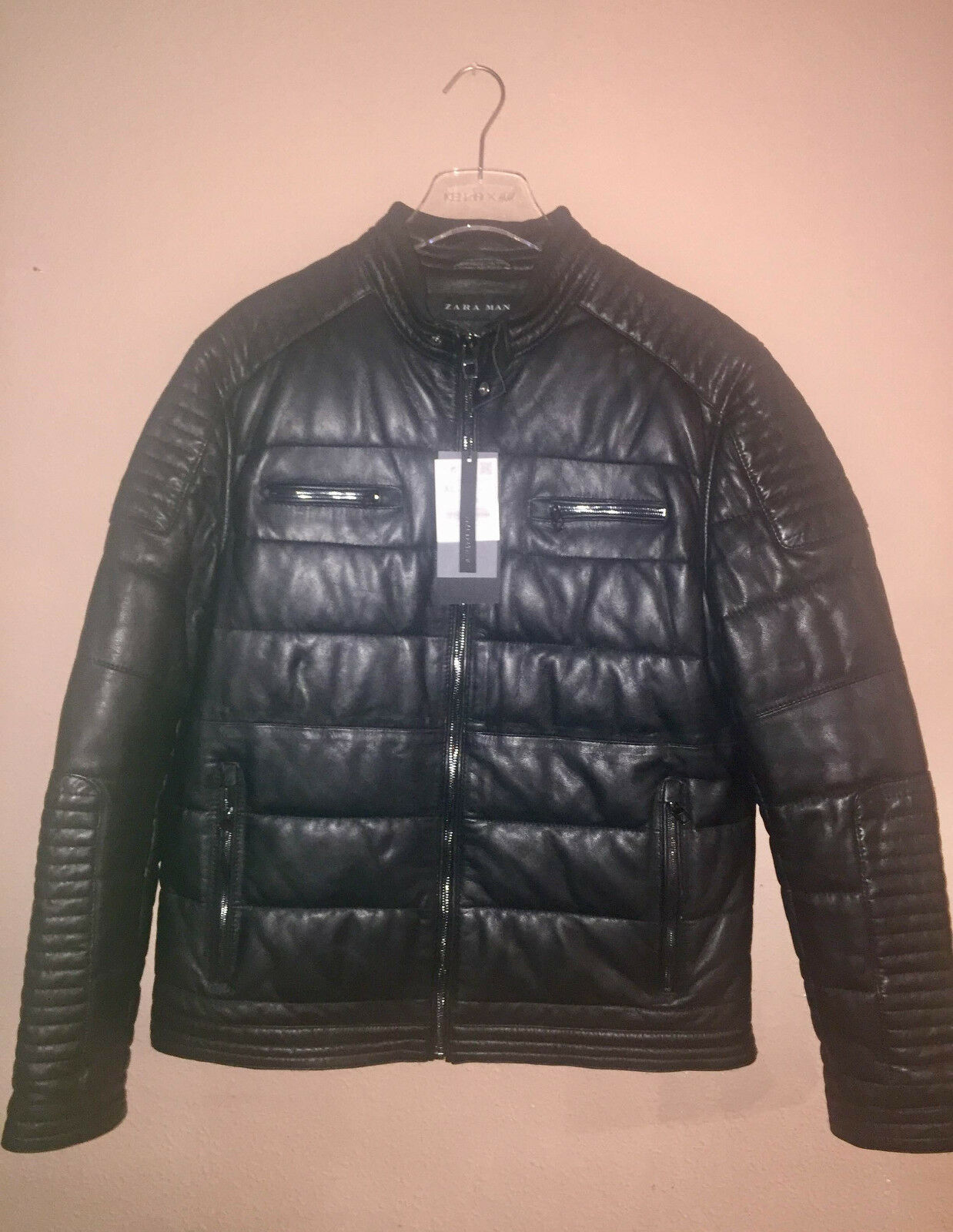 Aw2017 Zara Man 100 Sheep Skin Quilted Leather Biker Fitted Moto ... : zara leather quilted jacket - Adamdwight.com