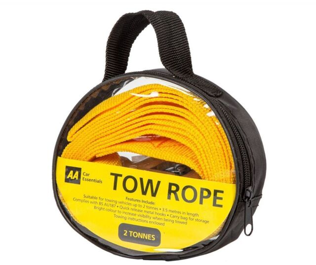 AA Strap-Style Tow Rope, 2 tonnes Heavy Duty High Visibility Tow Strap 3.5m Long