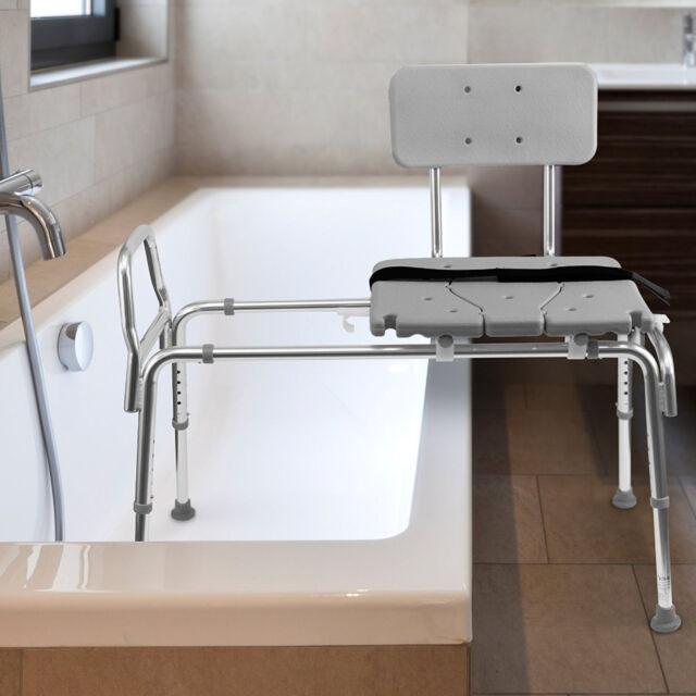 Bath Sliding Transfer Bench Shower Chair Seat Adjustable Leg Aid ...