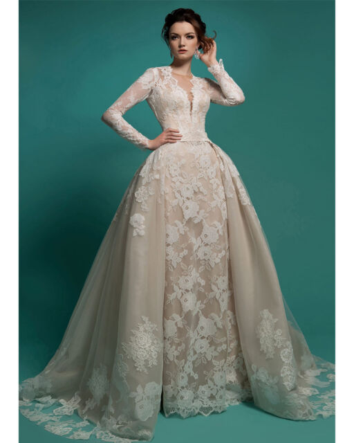 Vintage Lace Bridal Gown 2018 Long Sleeves Detachable Skirt Wedding ...
