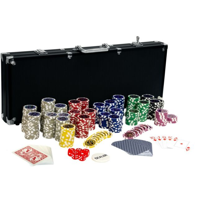 Pokerkoffer Pokerset Poker BLACK EDITION 500 Set Laser Chips Alu Koffer Jetons