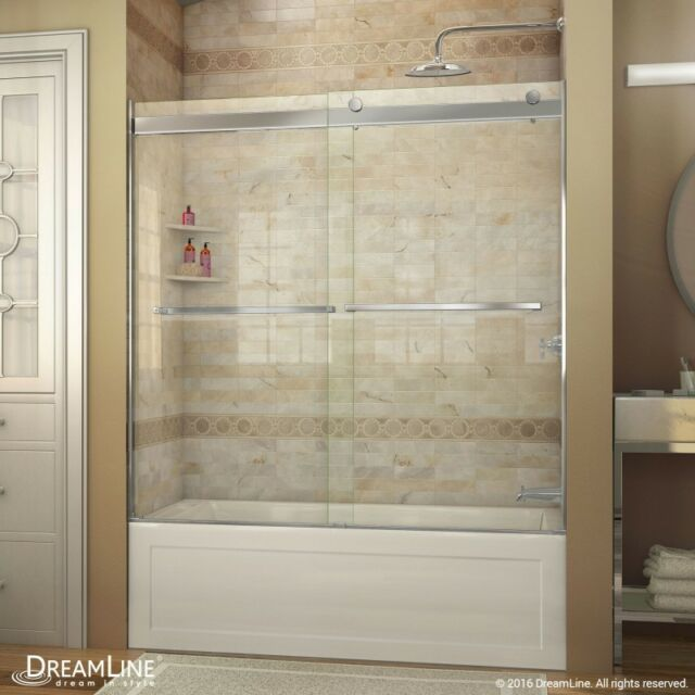 Dreamline essence 56 to 60 in frameless bypass tub door in chrome dreamline essence 56 60 x 60 bypass sliding tub door 5 eventshaper