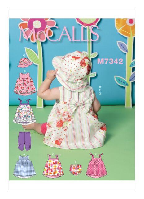 McCalls SEWING PATTERN M7342 Babies/Infants Dresses,Panties,Leggings & Hat