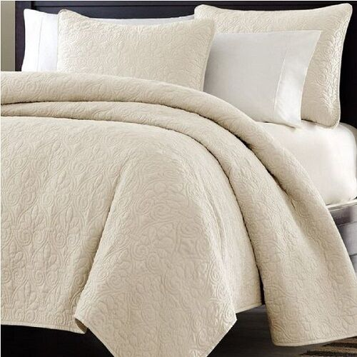 Bed In A Bag Oversized 3pc Quilted Coverlet Set Ivory King 95 GSM Super  Soft | EBay