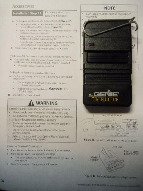 Genie Intellicode ACSGT Type 1 Garage Door Opener Remote Control