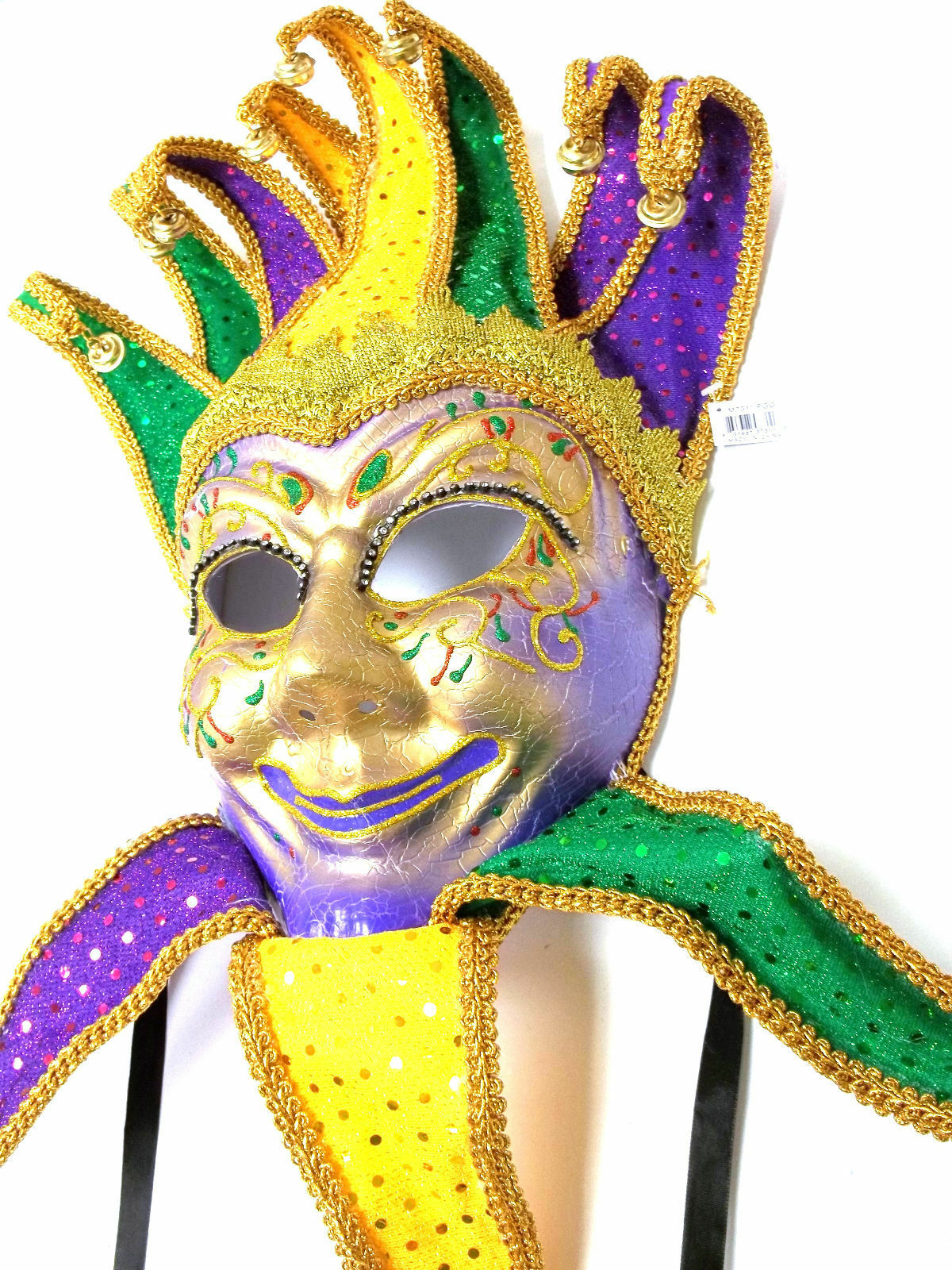 Jester Sequin Purple Green Gold Mardi Gras Masquerade Mask Wall ...
