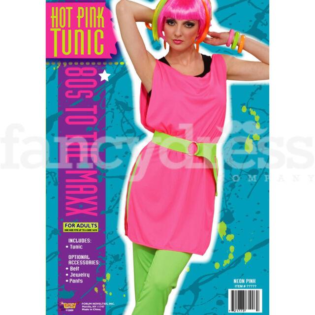 Ladies 80s Punk Hot Pink Tunic Fancy Dress Costume | eBay