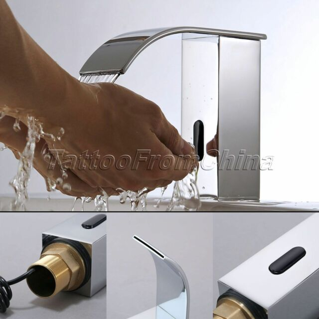 Bathroom Faucet Automatic Sensor Hands Touchless Waterfall Chrome ...