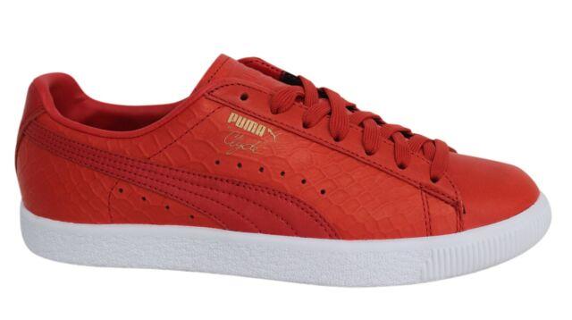 Puma Clyde vestito con lacci pelle rossa Scarpe sportive uomo 361704 03 M12
