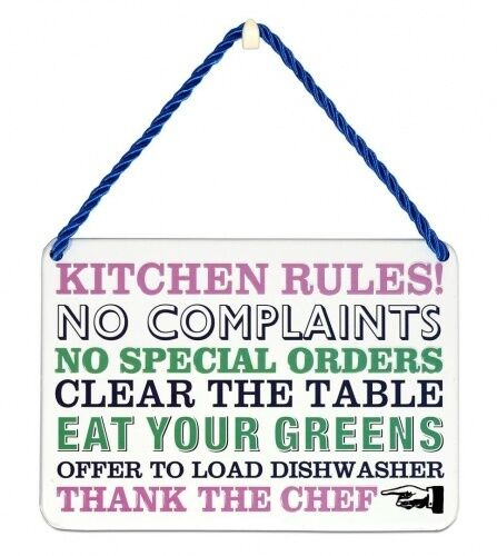 Kitchen Rules Metal Plaque - Fun Kitchen Sign - Kitchen accessory