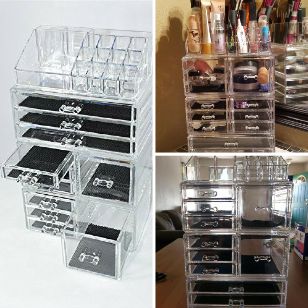 Extra Large 9 Tier Clear Acrylic Cosmetic Makeup Organizer Jewelry Storage  Case