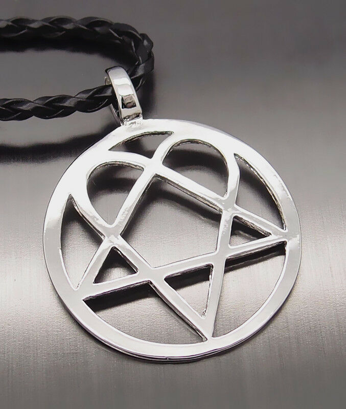 Heartagram star heart pentagram men boy pewter pendant with 20 picture 1 of 4 aloadofball Choice Image