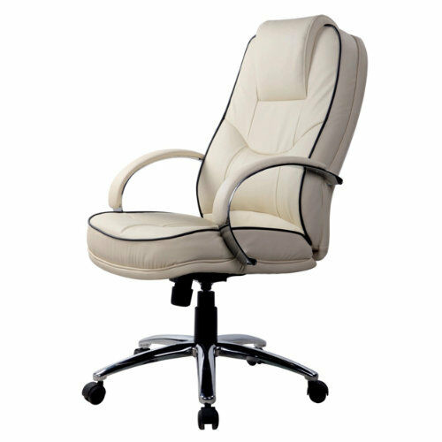 RS Soho Rome2 business leather-faced exec swivel computer office chair in cream