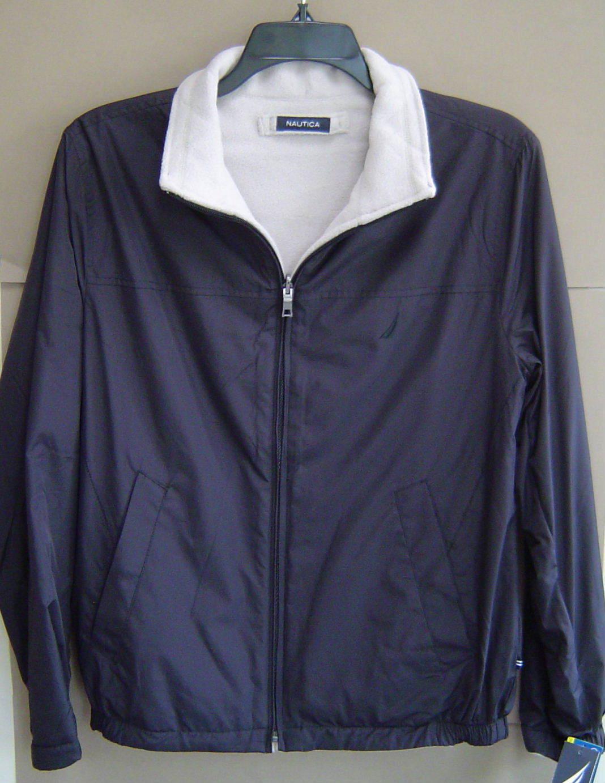 Nautica Mens S Reversible Fleece Lined Jacket True Black Coat ...