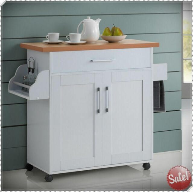 Kitchen Cabinets On Wheels: Kitchen Island Cart Wheels Rolling Mobile Portable Storage