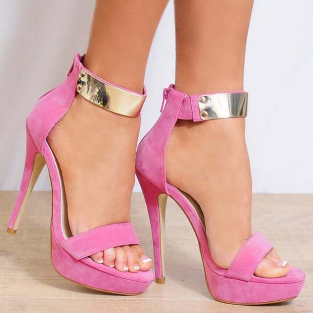 Ladies Pink Gold Ankle Strap Open Toe Strappy Stiletto