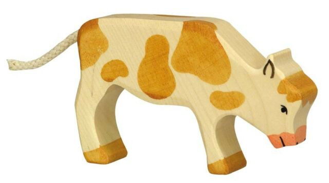 HOLZTIGER 80011: Brown and White Calf Grazing, Collectable Wooden Toy NEW
