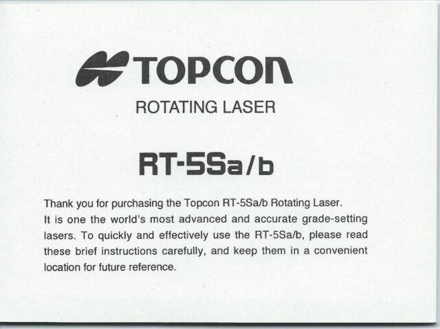 topcon rotating laser rt 5sa b instruction manual ebay rh ebay com topcon dual grade laser manual topcon laser manual download