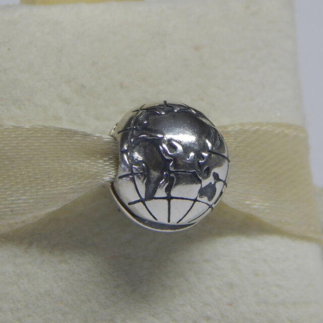 Pandora globe charm in 925 sterling silver 791182 ebay new authentic pandora globe clip sterling silver 791182 box included sciox Choice Image
