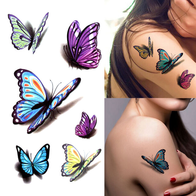 3d butterfly temporary tattoos sticker body art removable for Fake body tattoos