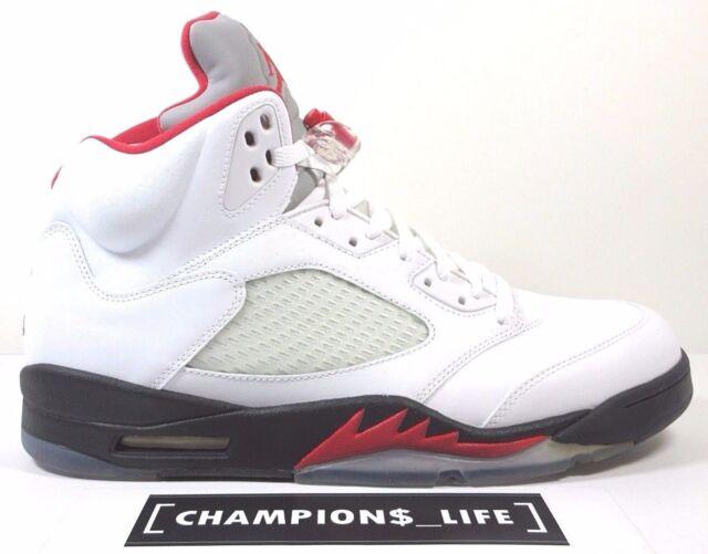 Nike Air Jordan 5 Blanc / Feu Rouge / Noir