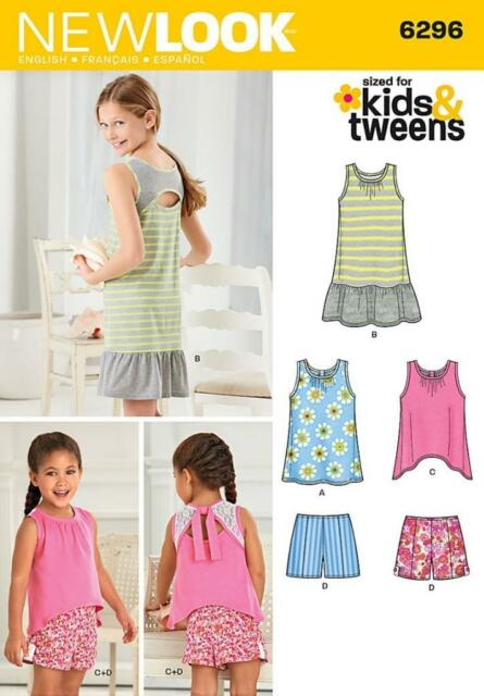 LOOK Girls\' Shorts and Knit Dress or Top Sewing Pattern 6296 | eBay