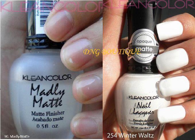 2 KleanColor Nail Polish Madly Matte Clear Winter Waltz White Set ...
