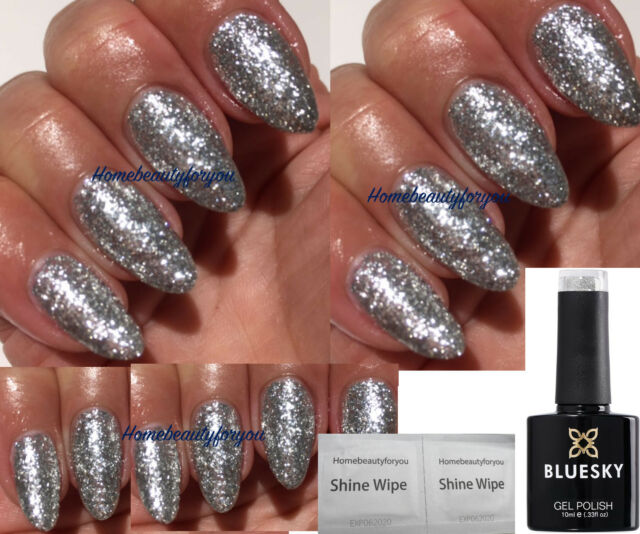Bluesky Luxury Silver Chunky Glitter Kd32 Nail GEL Polish UV LED ...