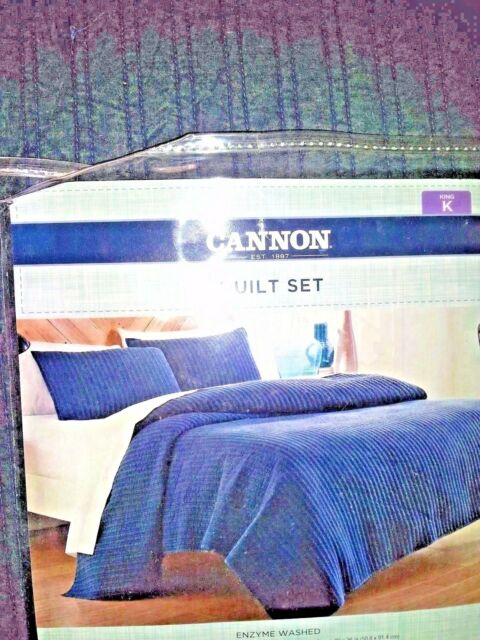 Cannon Denim Quilt Set W 2 Shams Enzyme Washed Solid Blue King Size