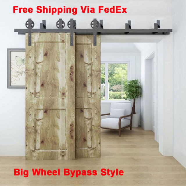5 16ft Bypass Spoke Wheel Sliding Barn Door Hardware Heavy Duty