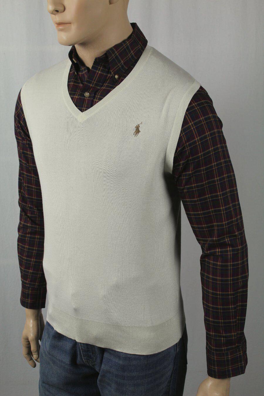 Polo Ralph Lauren Sweater Vest Mens Cresent Cream Pima Cotton 6681 ...