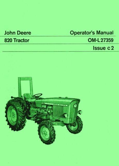 john deere 820 tractor operators instruction manual jd ebay rh ebay com john deere 820 service manual john deere 8200 manual