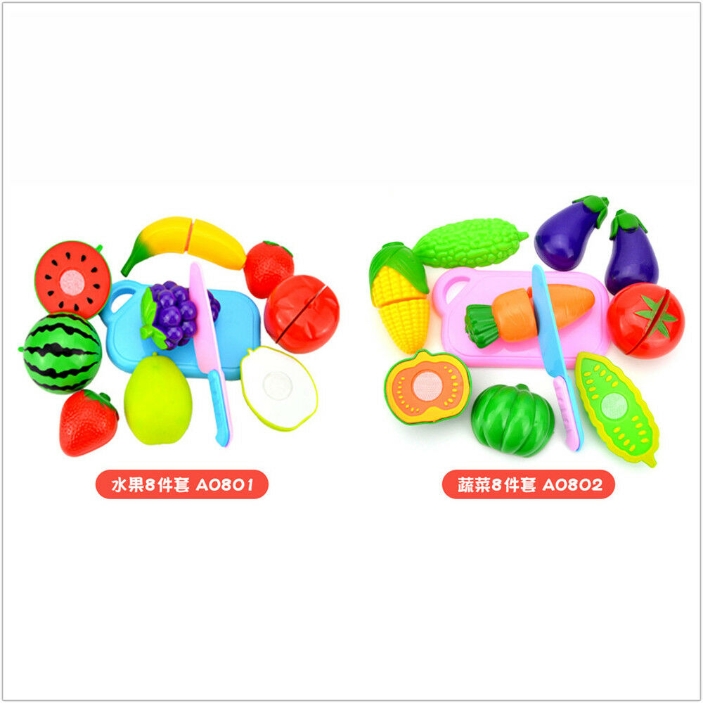 4-12pcs Pretend Role Play Kitchen Fruit Vegetable Food Toy Cutting ...