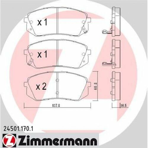 ZIMMERMANN Brake Pad Set, disc brake 24501.170.1