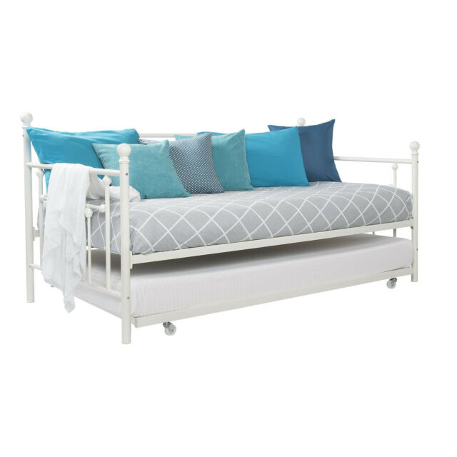 white metal bed full size day twin pull out trundle kids guest bedroom furniture ebay. Black Bedroom Furniture Sets. Home Design Ideas