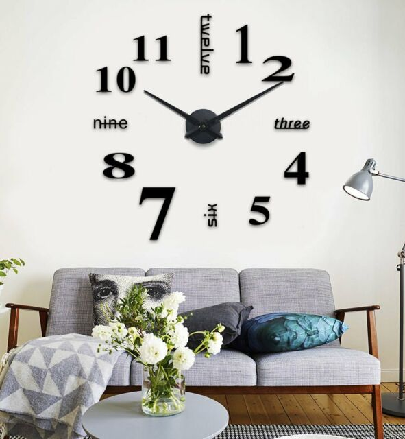 Diy 3d Large Number Mirror Wall Clock Sticker Decoration Home Office Bedroom