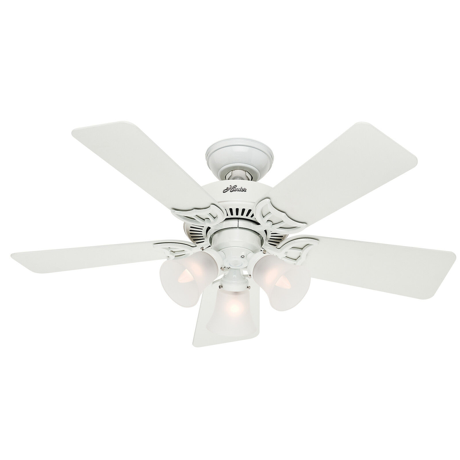 """Hunter Southern Breeze White 42"""" Ceiling Fan With Light"""