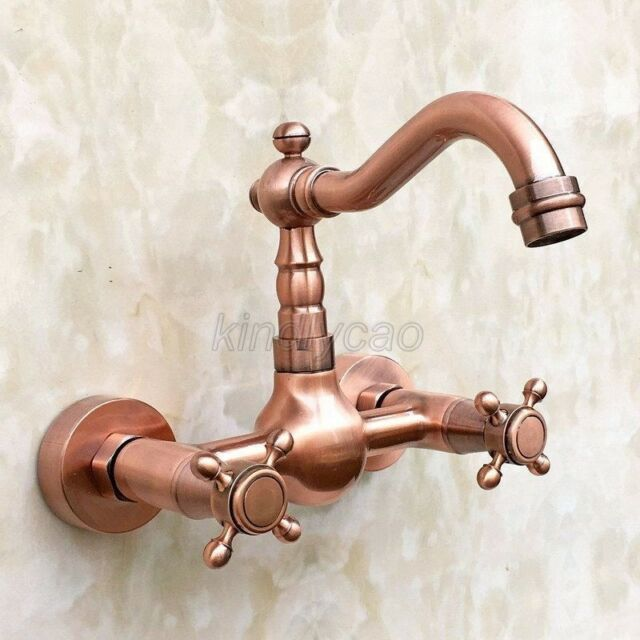 Swivel Red Copper Wall Mounted Bathroom Kitchen Basin Sink Faucet