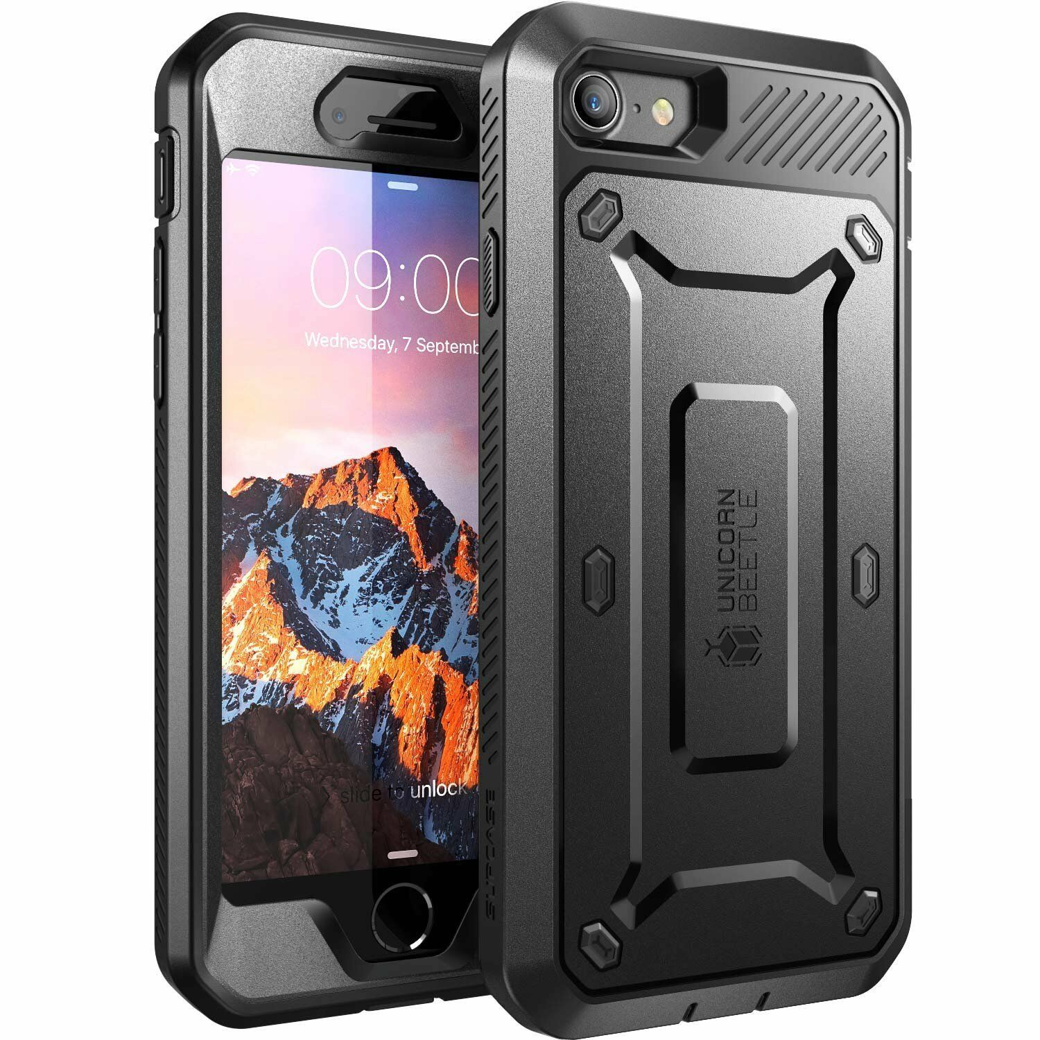 the latest 50bec cd475 SUPCASE iPhone 8 Rugged Holster Case With Built-in Screen Protector Black