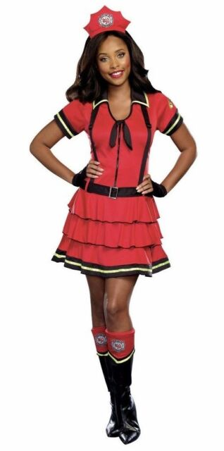Firefighter Costume Womens Large (12-14) Cosplay Roleplay Outfit Red Dress New  sc 1 st  eBay & Halloween Firefighter Women Costume Adult Red Costumes Party Dress ...