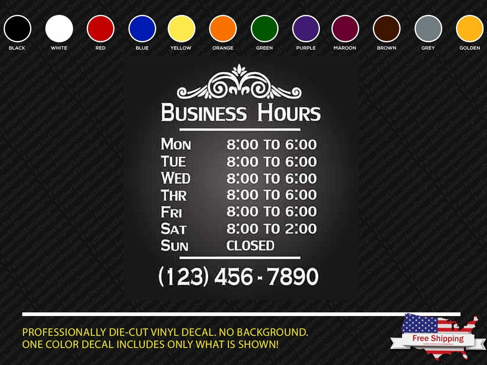 Custom Business Hours Vinyl Window Decal X Outdoor Sticker - Window stickers for business hours