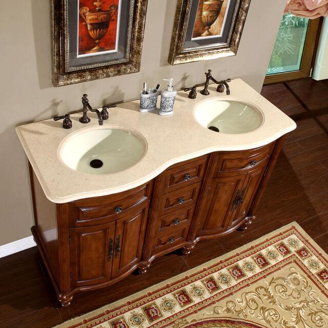 55 Inch Creamy Marble Top Double Sink Bathroom Vanity Lavatory Cabinet  0719CM
